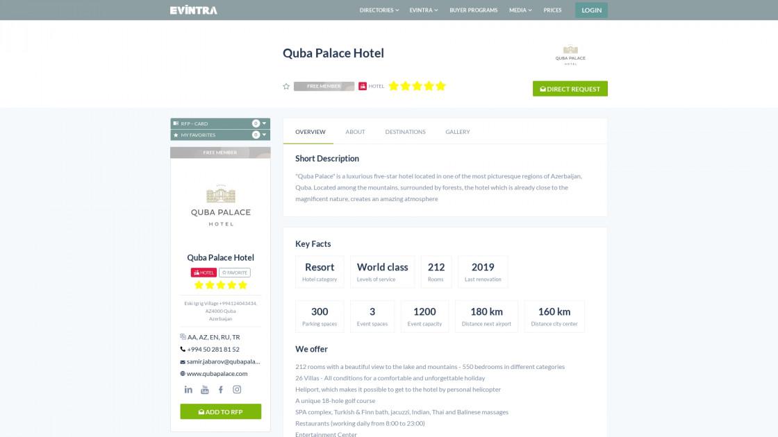 Quba Palace Hotel Hotel Evintra